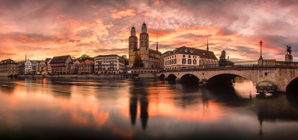 Postkarte Zürich Panoramic Sunrise